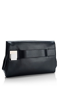 'Lilyan' | Leather Buckle-Front Clutch