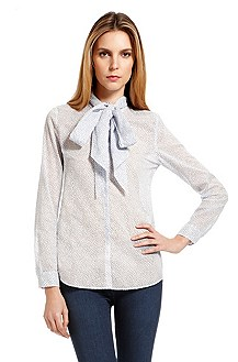 'Efie' | Cotton Tie-Neck Blouse