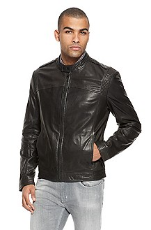 'Lansor' | Stand Collar Leather Jacket