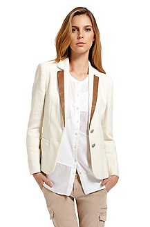 'Olaria' | Cotton-Blend Leather-Trim Blazer