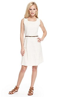 'Alise-W' | Cotton-Blend Belted Dress