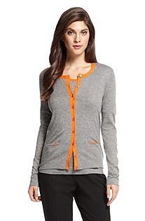 'Cardigan F4652' | Wool-Blend Contrast Trim Cardigan
