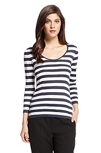 'F4653 ' | Wool-Blend Striped Knit Top