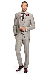 'Howard/Court WE' | Modern Fit, 3-Piece Wool-Silk Suit