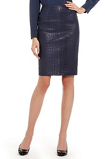 'le358' | Crocodile Embossed Leather Skirt