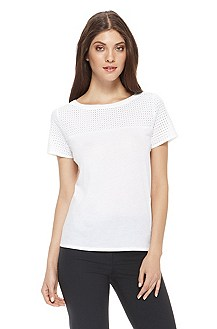 'Naomy' | Cotton Eyelet Neckline T-Shirt