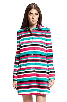 'Moisha' | Stretch-Cotton Striped Coat