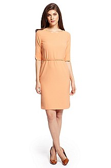 'Henryke' | Silk Scalloped Neck Dress