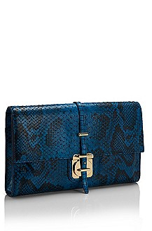 'Caledony' | Python-Embossed Leather Clutch