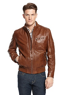 'Gilles' | Stand Collar Leather Jacket