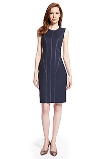 'Dajil' | Stretch Wool Contrast Trim Dress