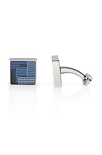 'Visto' | Silver Geometric Pattern Cufflinks