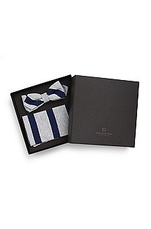 'Bow Tie & Pocket Square' | Linen-Blend Striped Gift Set