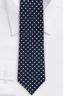 '8 cm Tie' | Regular, Silk-Linen Diamond Print