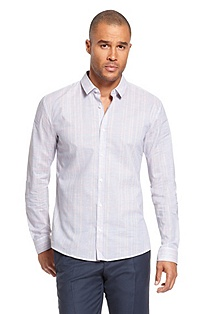 'Ero' | Slim Fit, Cotton Plaid Casual Shirt