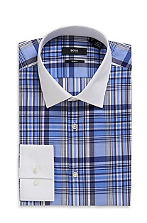 'Jonne' | Slim Fit, Cotton Plaid Dress Shirt