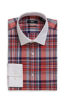 'Jonne' | Slim Fit, Medium Point Collar Cotton Plaid Dress Shirt