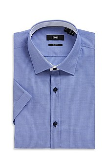 'Juris' | Slim Fit, Short Sleeve Cotton Dress Shirt