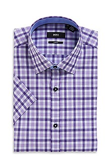 'Juris ' | Slim Fit, Short Sleeve Cotton Dress Shirt