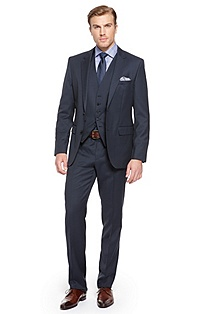 'James/Sharp' | Modern Fit, Virgin Wool 3-Piece Suit