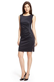 'Daverla' | Stretch Cotton Pleat Sheath Dress