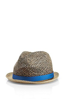 'Men-x342-11' | Leather Trimmed Straw Hat