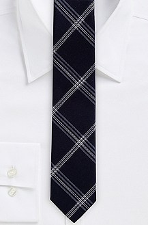 '6 cm Tie' | Skinny, Silk-Cotton Large Check Print