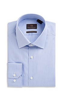 'Thob' | Shaped Fit, Modified Point Collar Cotton Dress Shirt