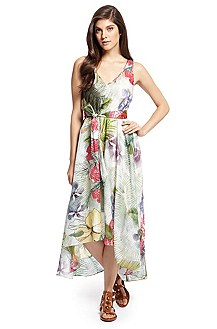 'Ahotaru-W' | Cotton-Silk Tropical Print Dress