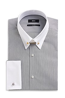 'Herbert_FS' | Slim Fit, Cotton Striped Dress Shirt
