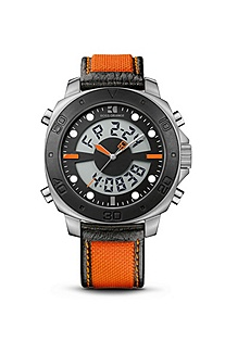 '1512679' | Orange Silicon Strap Analog-Digital Watch