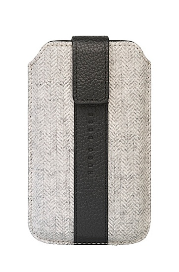 'Alness Universal ' | Wool and Leather Cell Phone Case, Medium Grey