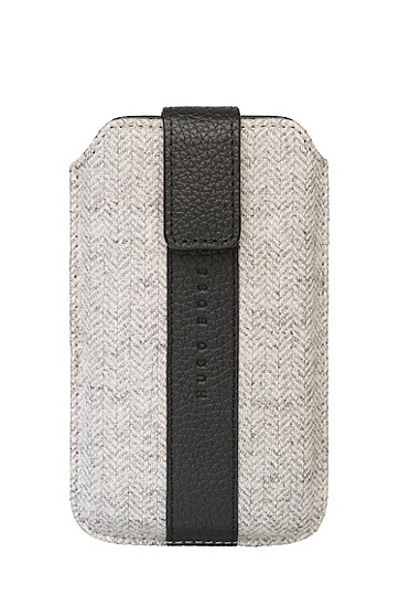'Alness Universal' | Wool and Leather Cell Phone Case, Medium Grey