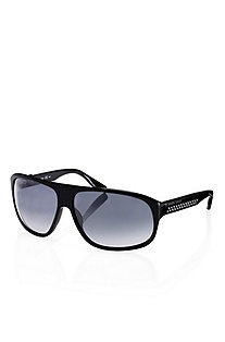 'Sunglass' | Black Plastic Frame Aviator Sunglasses