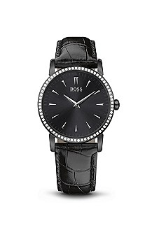 '1502303' | Black Crocodile-Embossed Leather Strap Watch