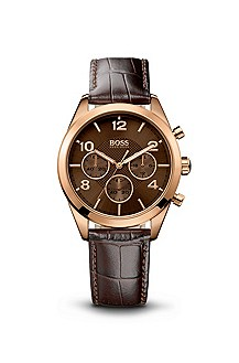 '5102311' | Brown Croc-Embossed Leather Round Watch