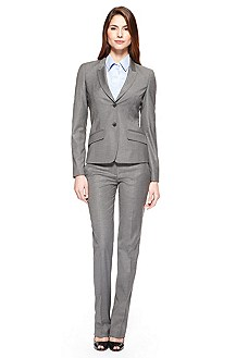 BOSS Stretch-Wool Silver Pant Suit