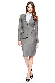 BOSS Stretch-Wool Silver Skirt Suit