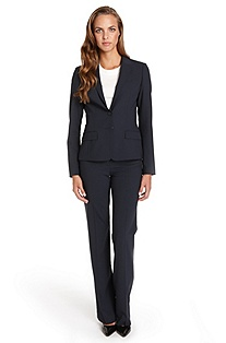 BOSS Stretch-Wool Navy Pant Suit
