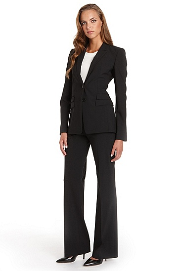 BOSS Stretch-Wool Black Pant Suit