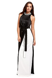 BOSS Black Beaded Collar Evening Gown