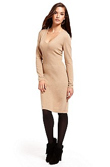 BOSS Black V-Neck Camel Sweater Dress