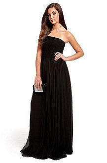 BOSS Black Strapless Chiffon Evening Gown