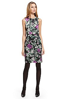 BOSS Black Floral Silk Beaded Neckline Dress