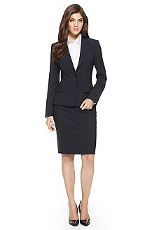 BOSS Stretch-Wool Navy Skirt Suit