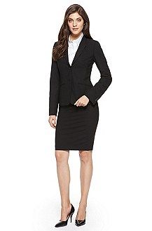 BOSS Stretch-Wool Black Skirt Suit