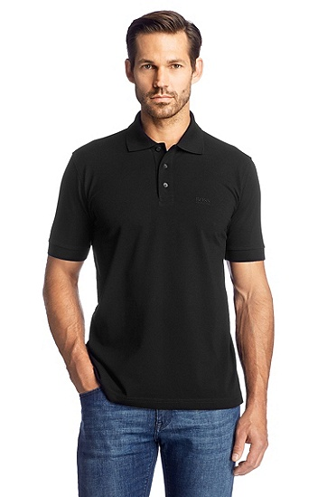 Pure cotton polo shirt 'Ferrara', Black