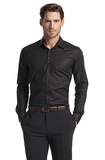 Slim fit blended cotton business shirt 'Elisha', Black