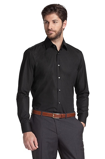 Business shirt with a Kent collar 'Enzo', Black