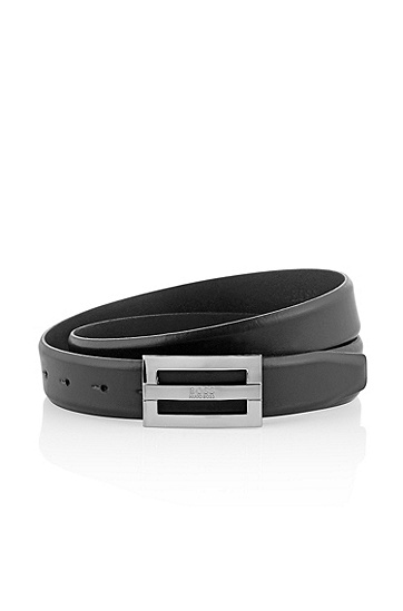 Belt with a rectangular metal buckle 'BENSON', Black